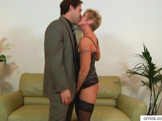 Older granny takes hard pounding...