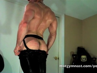 Leather Cum With In Jockstrap...