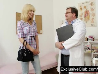 Blonde Bella Man visit gynoclinic to have her pussy gyno examined