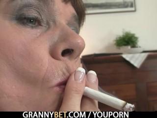 Naughty Granny Jumps On Stiff Meat...