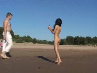 Watch the tits in the water from this nudist teen