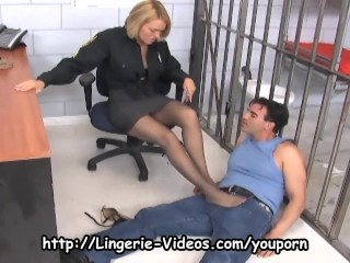 Officer fucking in ripped up nylons...