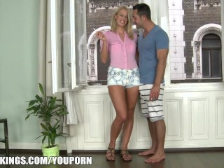 Euro blond hot body gets before taking two cocks...
