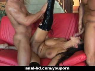 Big tit babe gets anal in a threesome