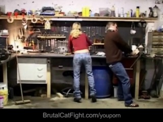 Two blondes fights at work the engineer fucks
