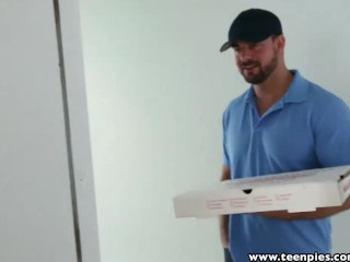 Teenpies pizza guy fills redhead natalie...