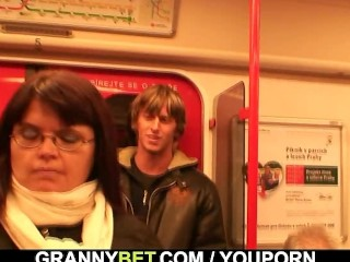 He picks up and bangs lady