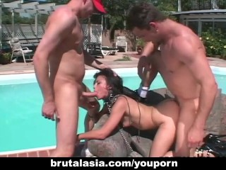 Hot Asian Threesome Where A Brutally Fucked...