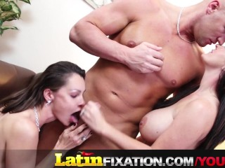 Latinfixation hot threesome with