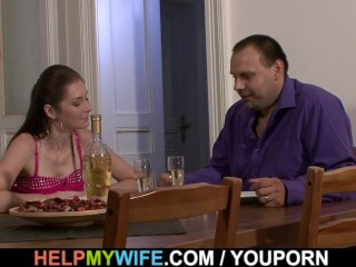 Husband watching fucks his sultry wife...