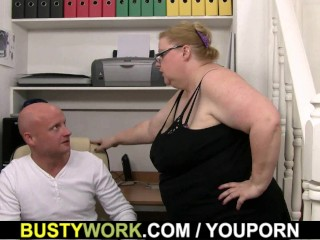 Heavy lady boss rides his cock...