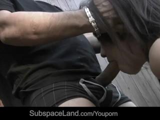 Restrained skinny slave used tough for bdsm fuck fantasy