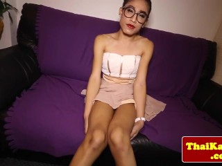 Thai tgirl shemale with glasses jerks...