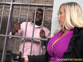 Amber Lynn Bach Fucks A Black Guy In A Prison