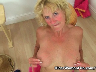 British granny Molly gets naughty in bathroom
