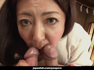 Mature asian tramp kimono tries out two cocks