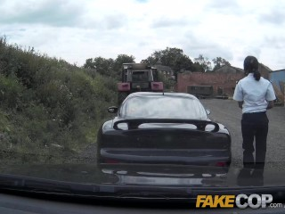 Fake Cop Boy racer gets involved in outdoor threesome