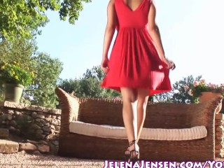 Lady in red masturbates outside