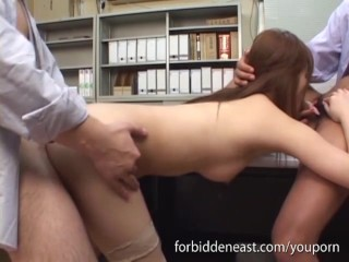 In stockings gets and pounded hard office...