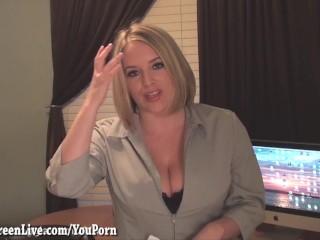 Busty Office Slut Maggie Masturbates At Desk...