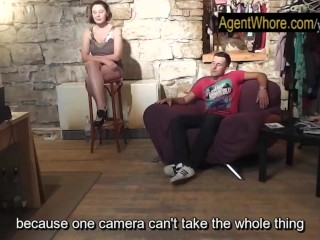 CHUBBY whore teases and dances for sportsman after interview...