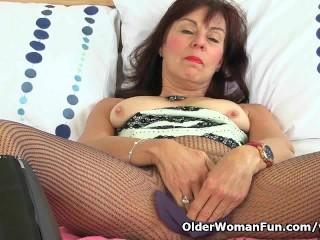 British granny Georgie stuffs her pussy with banana