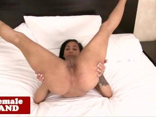 Gorgeous black tranny strokes her cock