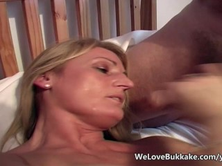 Mature amateur given heavy facials with...