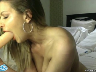 Blonde with huge tits and big ass sucking and fucking huge dildo...