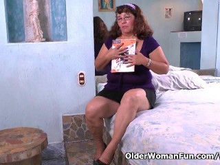Latina granny Maribel can t control her sex urge in nylon pantyhose