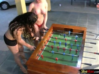 Shemale beauties fuck and suck each other in hot foursome