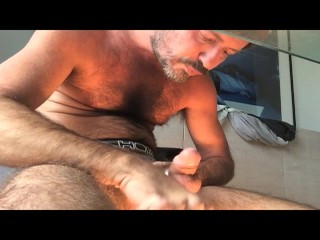 Tiery b. self sucking cum eating big load fat cock hot stud sexy french amateur bear