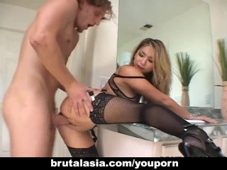 Blond horny girl fucked at home