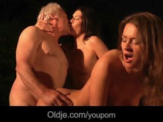 Grandpa fucks two young girls