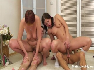 Hot Mature and Teen 4some