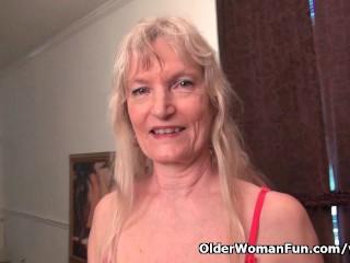 Granny claire fucks herself dildo...
