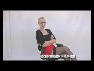 Blonde Milf Secretary Nurse Teases You With Her Tits Legs And Leather Gloves Fetish...