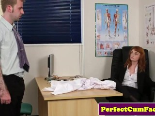 Stockinged redhead facialized in office...